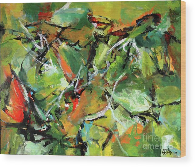 Abstract Expressionist Wood Print featuring the painting Jungle Green by Ric Castro