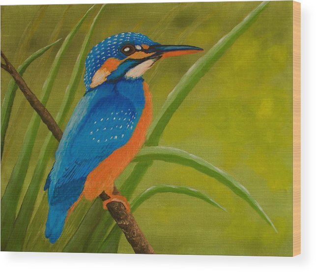 Kingfisher Wood Print featuring the painting Waiting For You by Zuleyha Ali