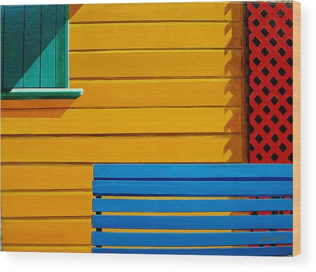 Architecture Wood Print featuring the painting La Boca Street Scene 33 by JoeRay Kelley