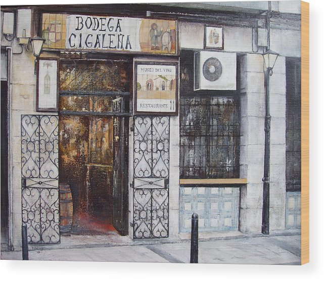 Bodega Wood Print featuring the painting La Cigalena Old Restaurant by Tomas Castano