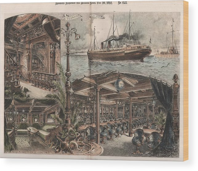 Watercolor Wood Print featuring the painting La Touraine New York by Unknown