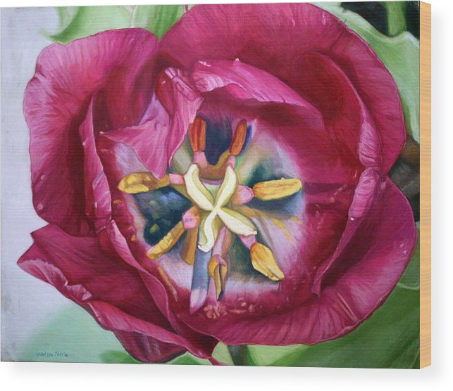 Botanical Wood Print featuring the painting Landing Zone by Melissa Tobia