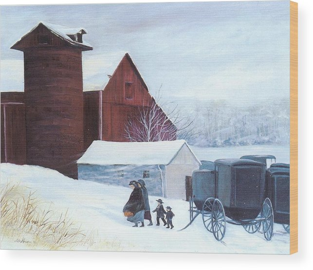 Amish;barn;buggies;winter;snow; Wood Print featuring the print Late Arrivals by Lois Mountz