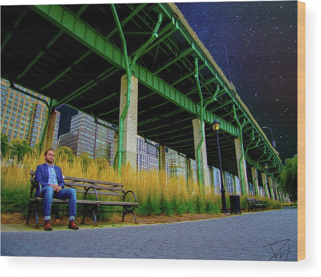 Nyc Wood Print featuring the digital art Loneliness In The City by Phil Brown