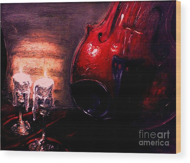 Love Wood Print featuring the painting Love For Music by Patricia Awapara