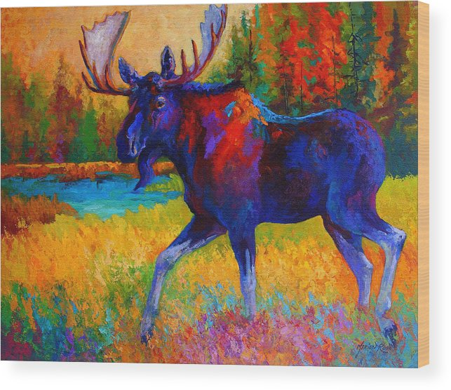 Moose Wood Print featuring the painting Majestic Monarch - Moose by Marion Rose