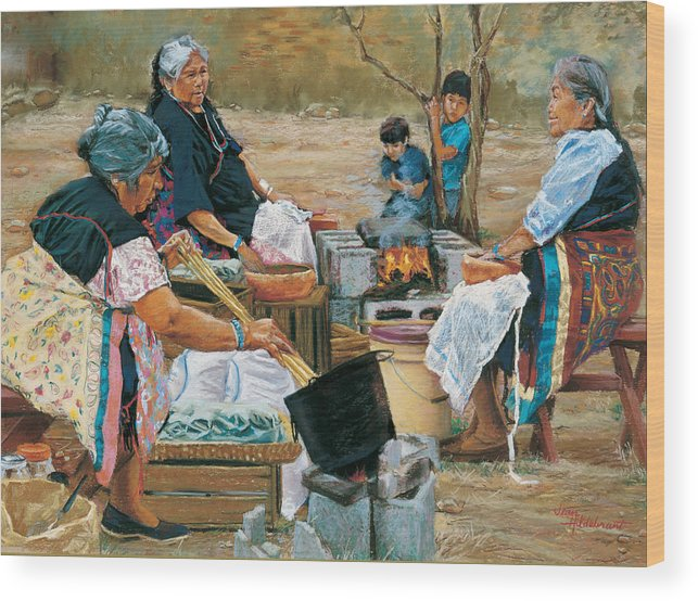 Native American Wood Print featuring the painting Making Piki Bread by Jean Hildebrant