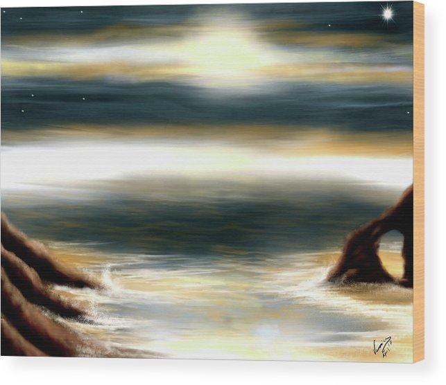 Ocean Wood Print featuring the digital art Mares by Veronica Castaneda