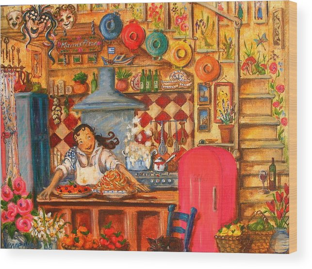 Decor Wood Print featuring the painting Marias Pizza by Yvonne Ayoub