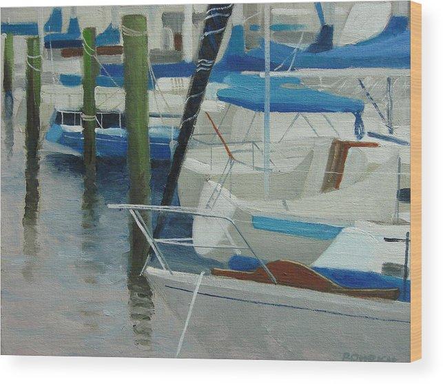 Boats Marina Wood Print featuring the painting Marina No. 2 by Robert Rohrich