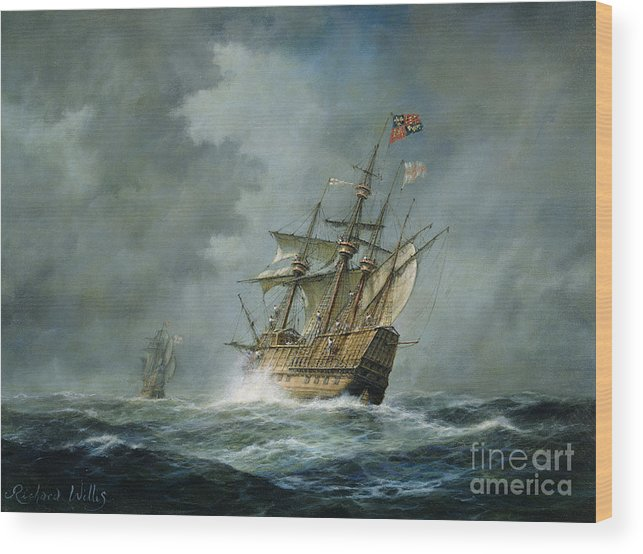 Mary Rose Wood Print featuring the painting Mary Rose by Richard Willis