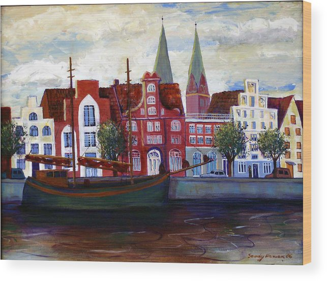 Lubeck Wood Print featuring the painting Medieval Town In Lubeck Germany by Art Nomad Sandra Hansen