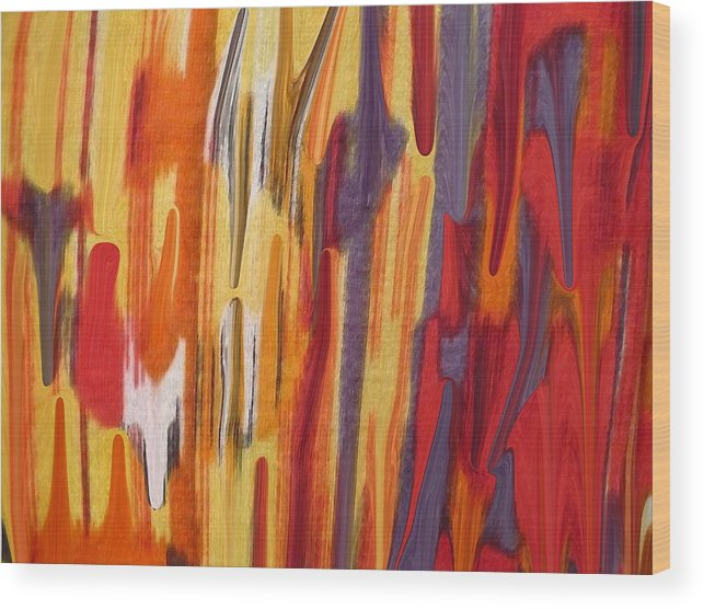 Abstract Wood Print featuring the painting Melting Pot by Florene Welebny