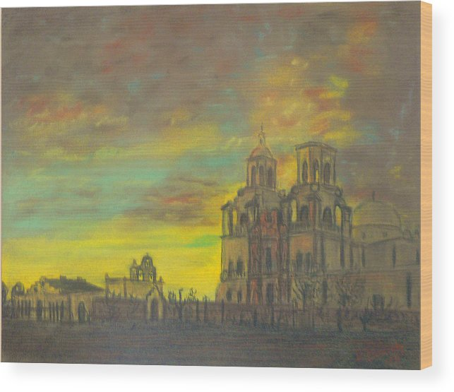 Sonoran Mission Wood Print featuring the painting Mission San Xavier Del Bac by Dan Bozich