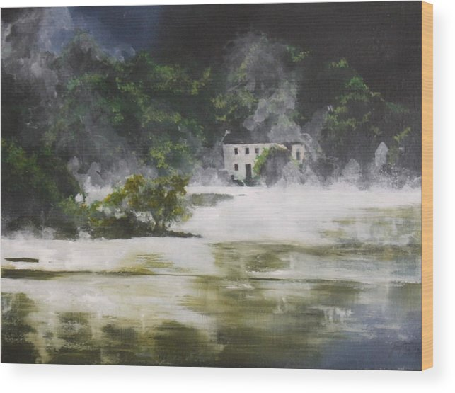 Landscape Wood Print featuring the painting Mist On Derwent Water by Jane Simpson
