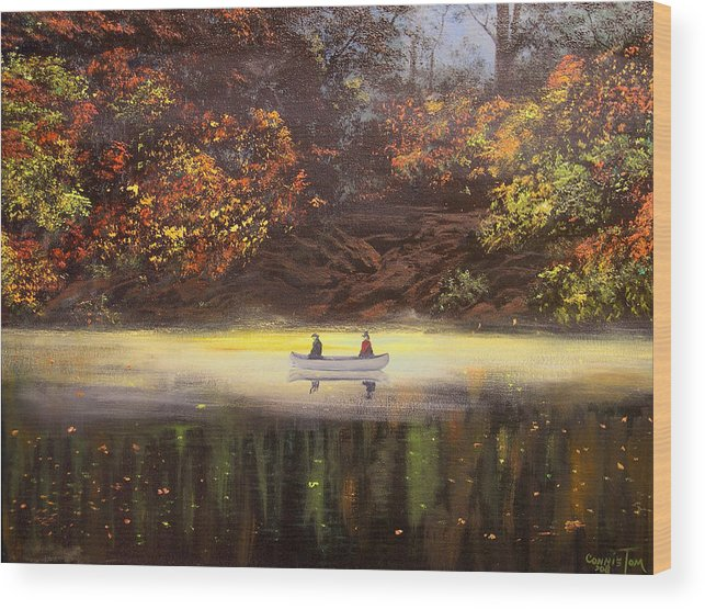 Connie Tom Wood Print featuring the painting Moonlight Canoeing by Connie Tom