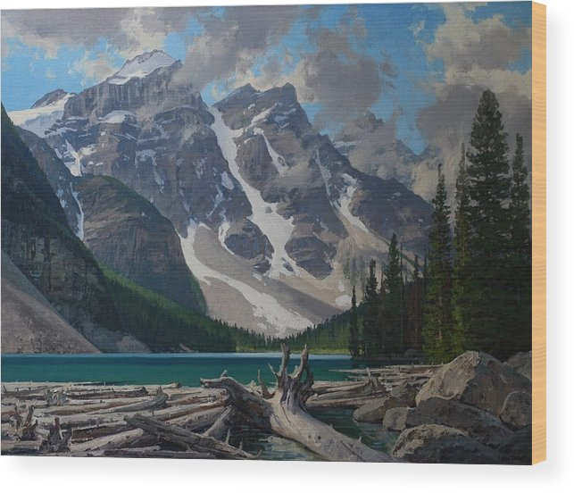 Landscape Wood Print featuring the painting Moraine Lake by Lanny Grant