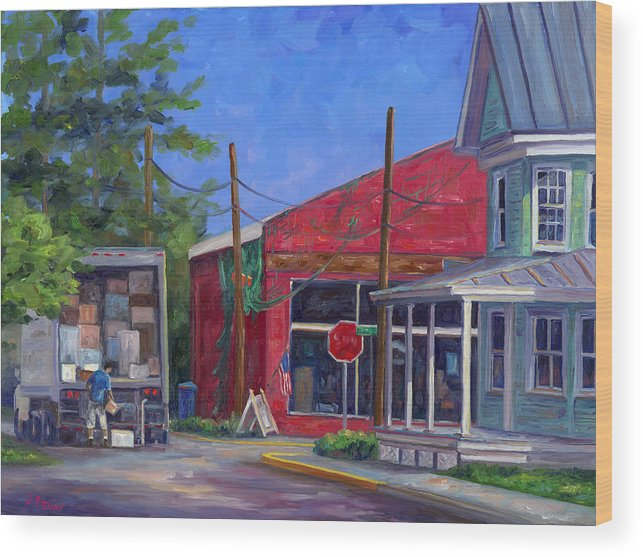 Oriental Nc Wood Print featuring the painting Morning Delivery by Jeff Pittman