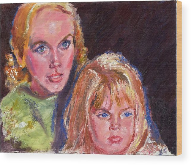 Oil Wood Print featuring the painting Mother And Child by Horacio Prada
