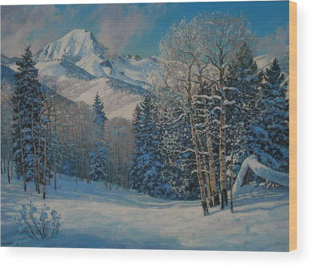 Landscape Wood Print featuring the painting Mt. Daly by Lanny Grant