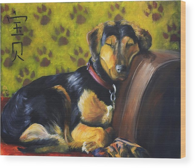 Dog Wood Print featuring the painting Murphy Vi Sleeping by Nik Helbig