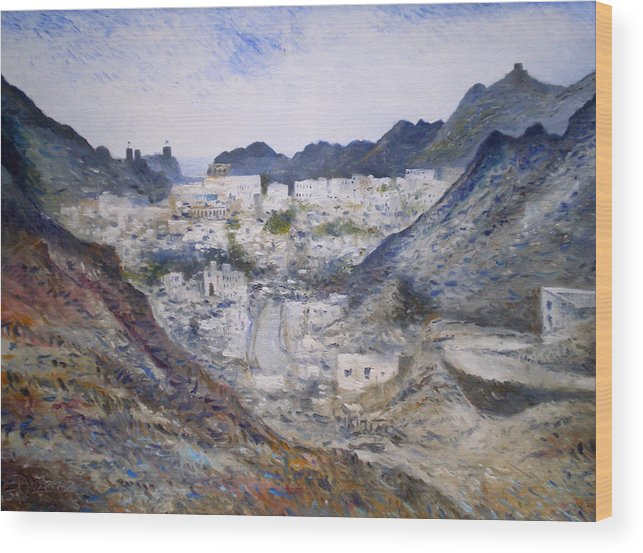 Muscat Oman. Enver Larney. Fine Art. Impressionism Wood Print featuring the painting Muscat Old Town Oman 2002 by Enver Larney