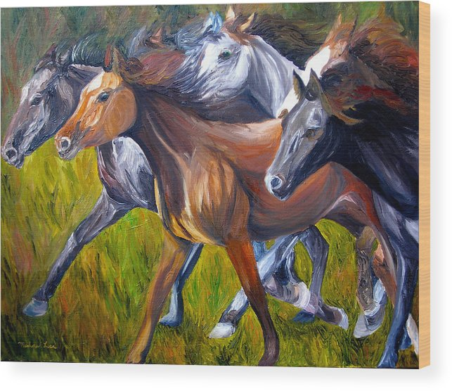 Wild Horses Wood Print featuring the painting Mustang Spirit by Michael Lee