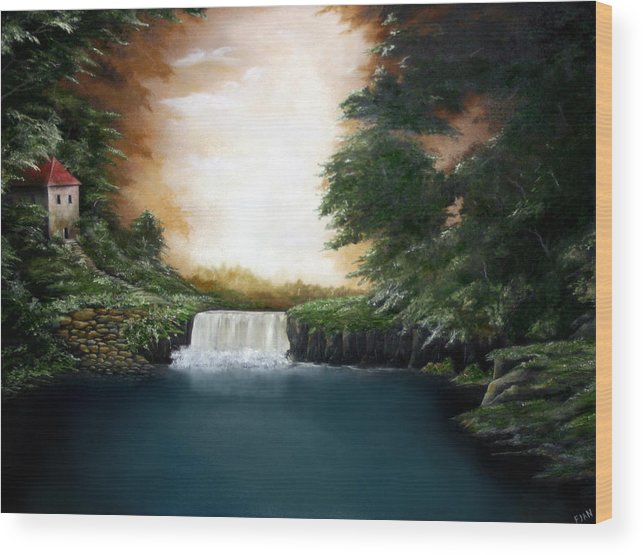 Falls Wood Print featuring the painting Mystical Falls by Ruben Flanagan