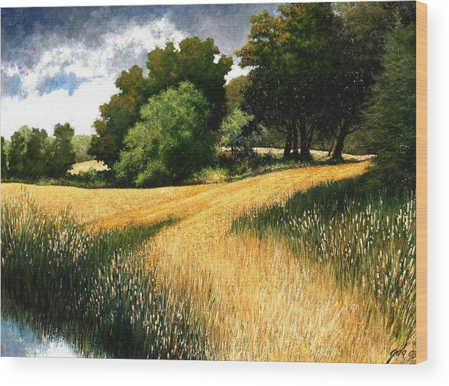 Landscape Wood Print featuring the painting Nature Walk Ridgefield Washington by Jim Gola