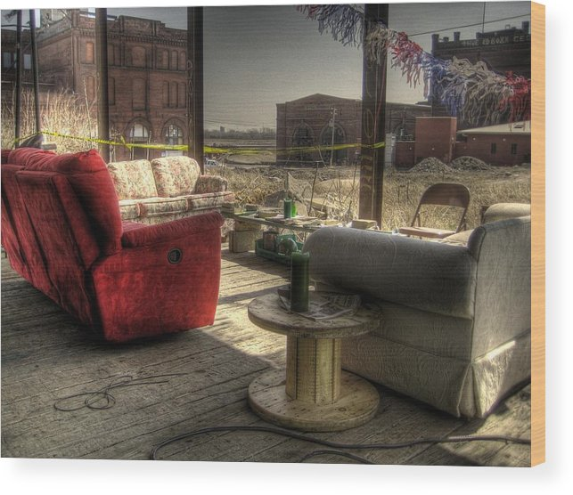 Hdr Wood Print featuring the photograph North St. Louis Porch by Jane Linders