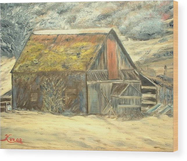 Barn Landscape Old Wood Print featuring the painting Old Barn Mossey Roof by Kenneth LePoidevin