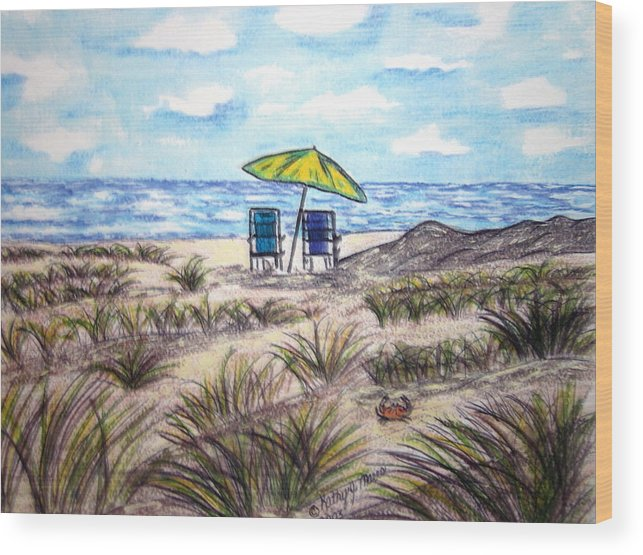 Beach Wood Print featuring the painting On The Beach by Kathy Marrs Chandler