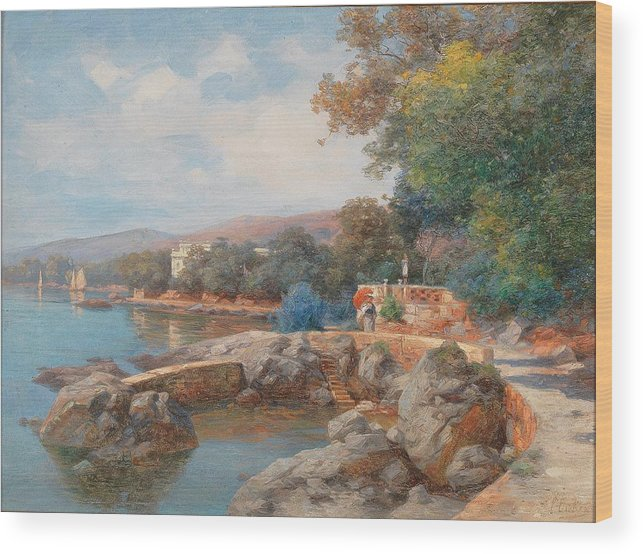 Carl Eduard Onken Wood Print featuring the painting On The Beach Of Abbazia by Celestial Images