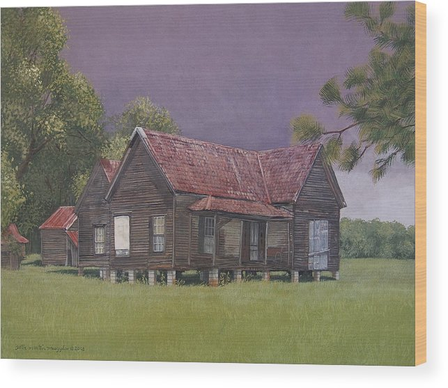 Landscape Wood Print featuring the painting On The Blocks by Peter Muzyka