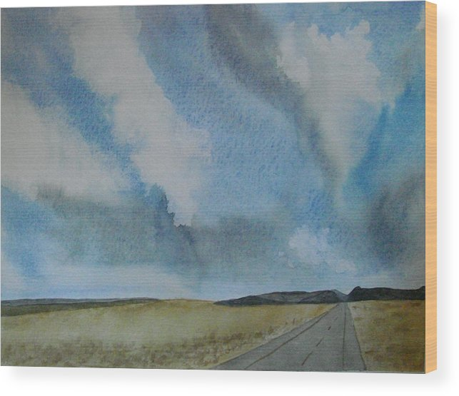 Landscape Wood Print featuring the painting On The Way To........... by Liz Vernand