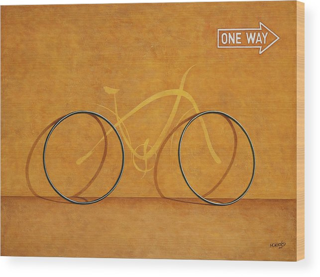 Bike Wood Print featuring the painting One Way by Horacio Cardozo