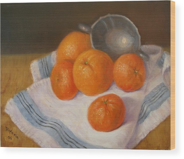 Realism Wood Print featuring the painting Oranges And Tangerines by Donelli DiMaria