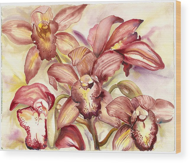 Tropical Orchids Wood Print featuring the painting Orchid Medley by Ileana Carreno
