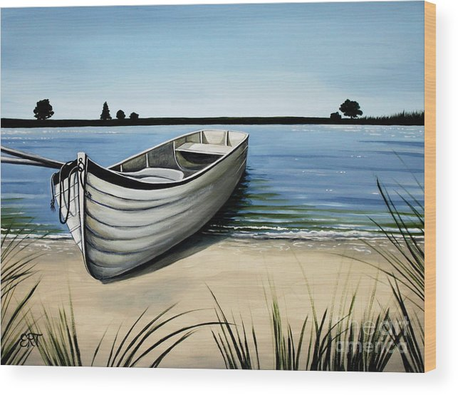 Boat Wood Print featuring the painting Out On The Water by Elizabeth Robinette Tyndall