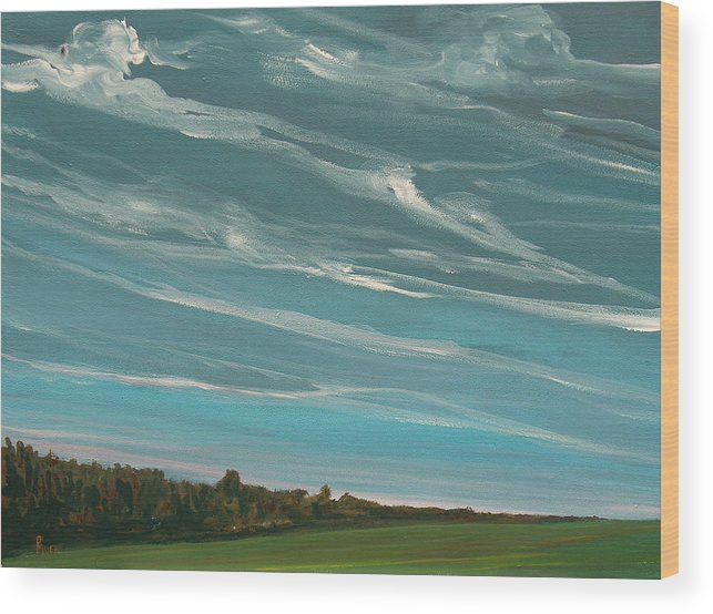 Landscape Wood Print featuring the painting Over The Fields by Pete Maier