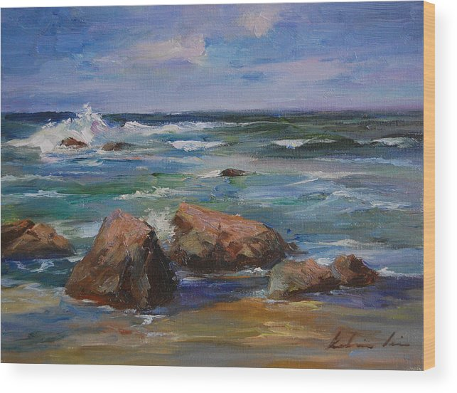 Seascape Wood Print featuring the painting Pacific Ocean by Kelvin Lei