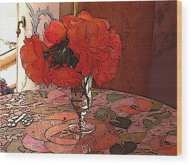 Floral Wood Print featuring the photograph Pansies And Mosian Table by Susan Grissom