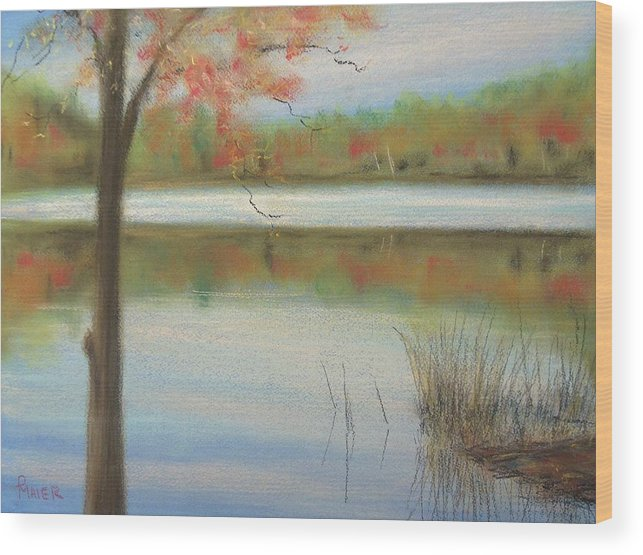 Lakescape Wood Print featuring the painting Pastel Lake by Pete Maier