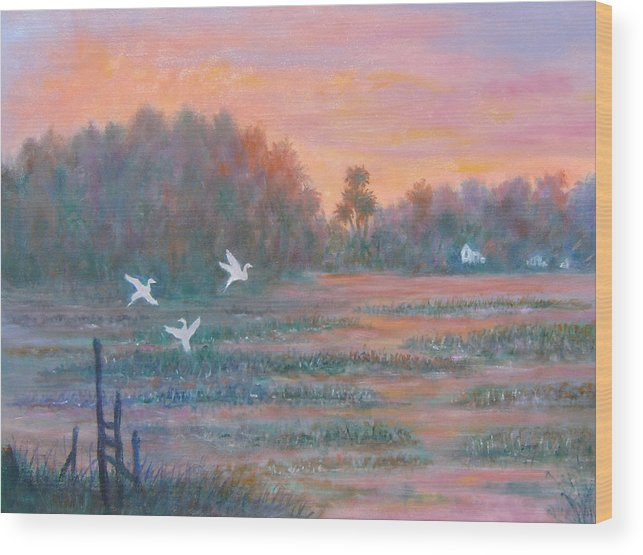 Low Country; Egrets; Sunset Wood Print featuring the painting Pawleys Island by Ben Kiger