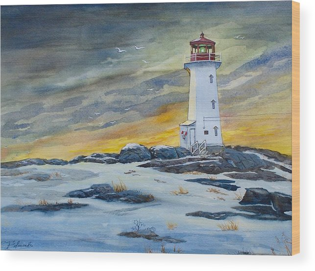 Peggy's Cove Lighthouse Wood Print featuring the painting Peggy's Cove Lighthouse by Raymond Edmonds