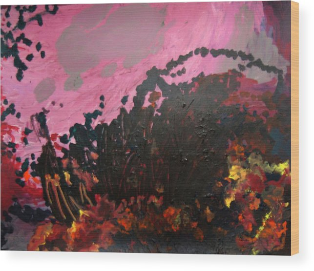 Abstract Wood Print featuring the painting Pink Bliss by Kitty Hansen