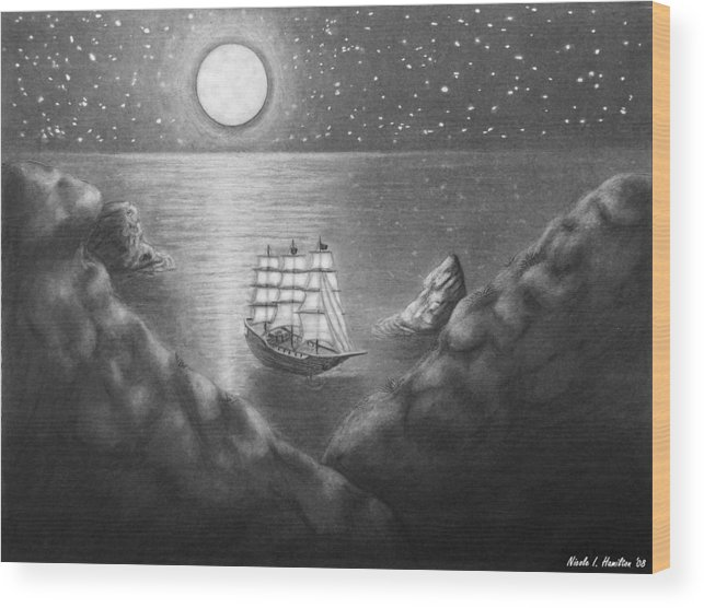 Ship Wood Print featuring the drawing Pirates' Cove by Nicole I Hamilton