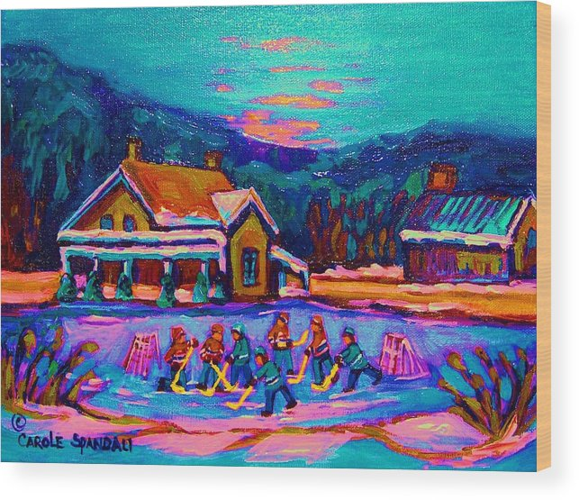 Pond Hockey Wood Print featuring the painting Pond Hockey Two by Carole Spandau