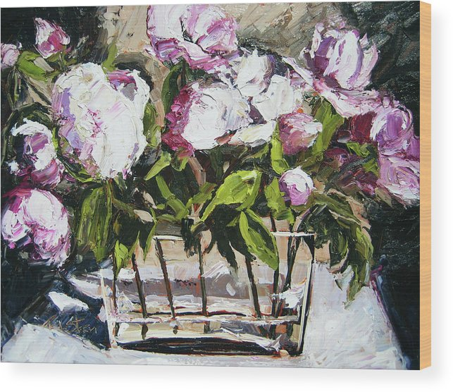Still Life Wood Print featuring the painting Power To The Peonies by Paula Stern