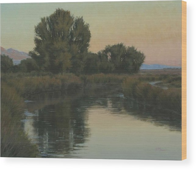 Owens River Wood Print featuring the painting Quiet Water Morning by Joe Mancuso